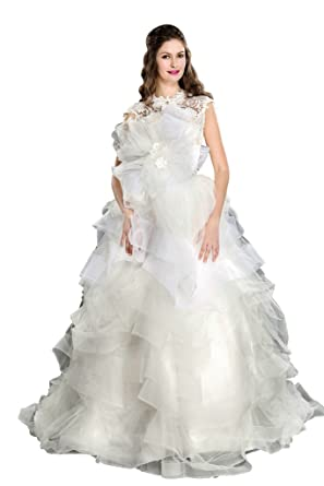 Coloredress New Layered Organza Wedding Dress With Flowers