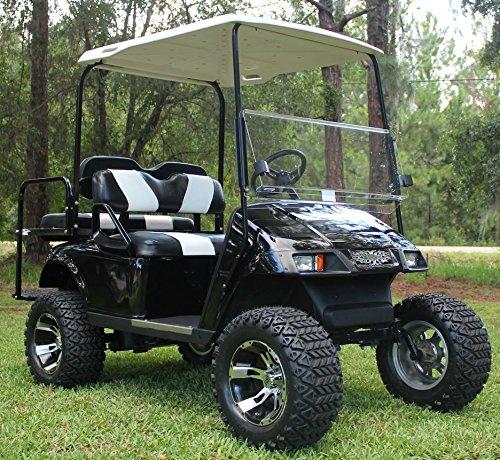12'' RUCKUS Machined/Black Golf Cart Wheels and 23x10.5-12 DOT All Terrain Golf Cart Tires - Set of 4