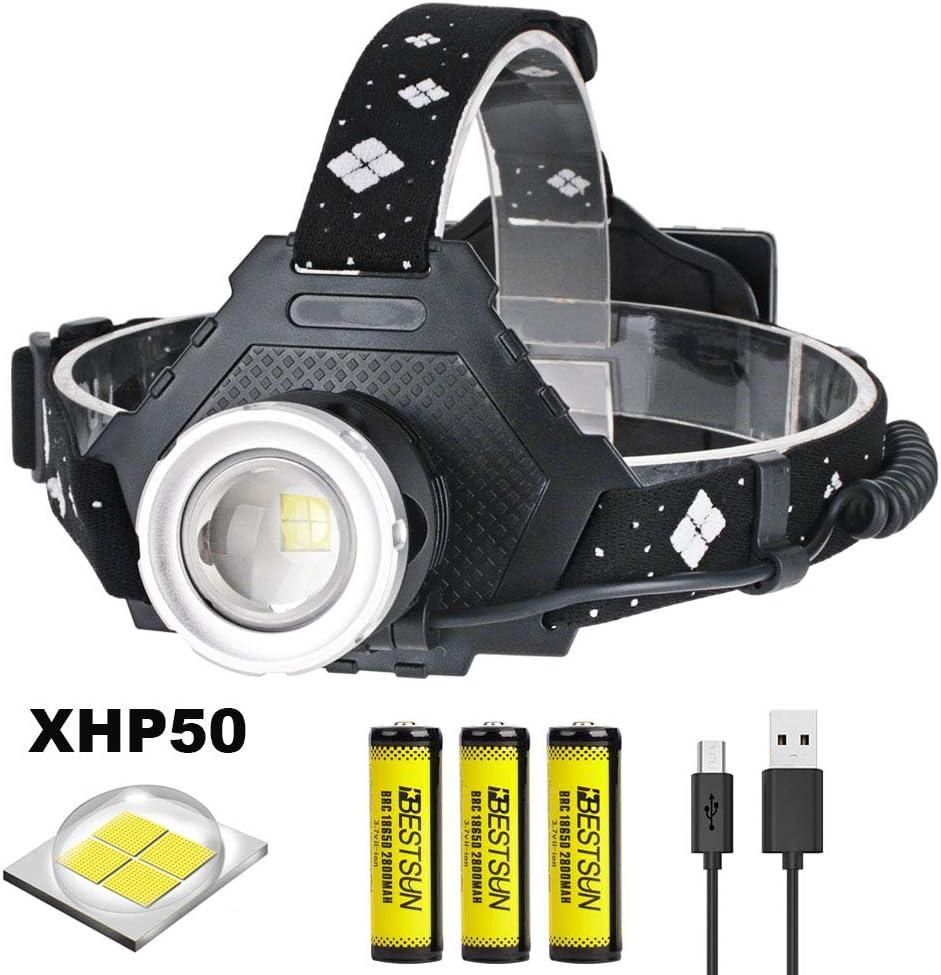 la sp/él/éologie LUXNOVAQ Lampe frontale rechargeable /à LED XHP50 super lumineuse 6000 lumens avec zoom /étanche USB 3 piles et 5 modes Id/éal pour le travail le camping