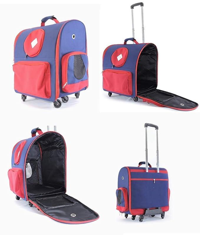 LXYUCWB Bolsa para Mascotas al Aire Libre Pet Trolley Case Jaula para Perros Cat Cage Caja Plegable Red Blue: Amazon.es: Jardín