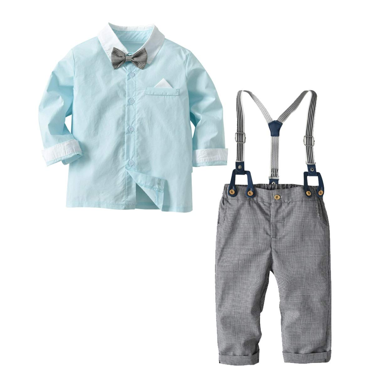 2-6Y Boys Gentleman Suit Long Sleeve Bow Tie Shirt+Suspender Pants Clothes Set Color : Pink, Size : 4-5Y
