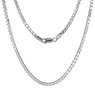 010f826df45 Amazon.com: Sterling Silver BOX Chain Necklace 2.2mm Square Cut tm Medium  Heavy Nickel Free Italy, 16 inch: Mens Sterling Silver Necklace: Jewelry