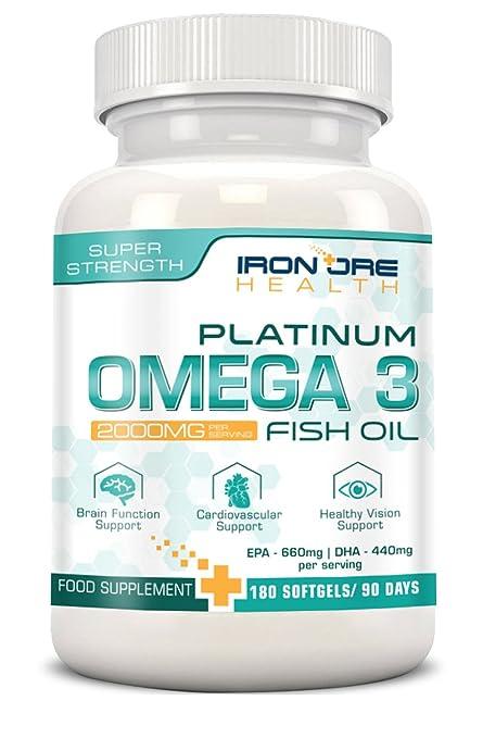 76 opinioni per Olio di pesce Omega 3 Platinum 2000mg- 660 EPA 440 DHA per dose – Benessere per