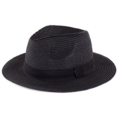 0bea1d29d791b BYOS Summer Classic Straw Panama Fedora Sun Hat in Solid Color W Black  Grosgrain Band Trim - Black -  Amazon.co.uk  Clothing