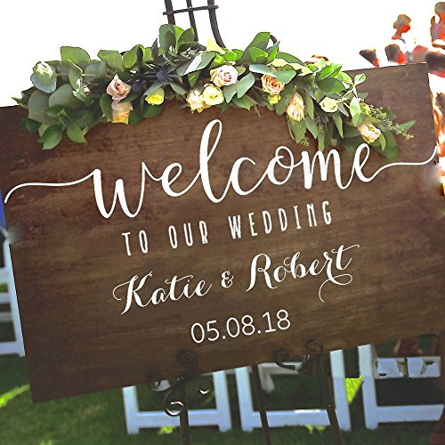 kinmes Vinyl Wall Art Inspirational Quotes and Saying Home Decor Decal Sticker Wedding Welcome Sign Stickers Rustic Wood Welcome Our Wedding Personalized Name Date ()