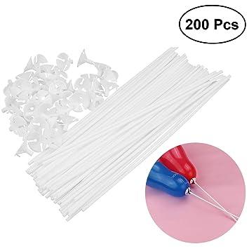 Tinksky 200pcs globo palos con copas titular de globo para el banquete de boda decoración 32 cm palos 3 cm tazas (blanco): Amazon.es: Juguetes y juegos