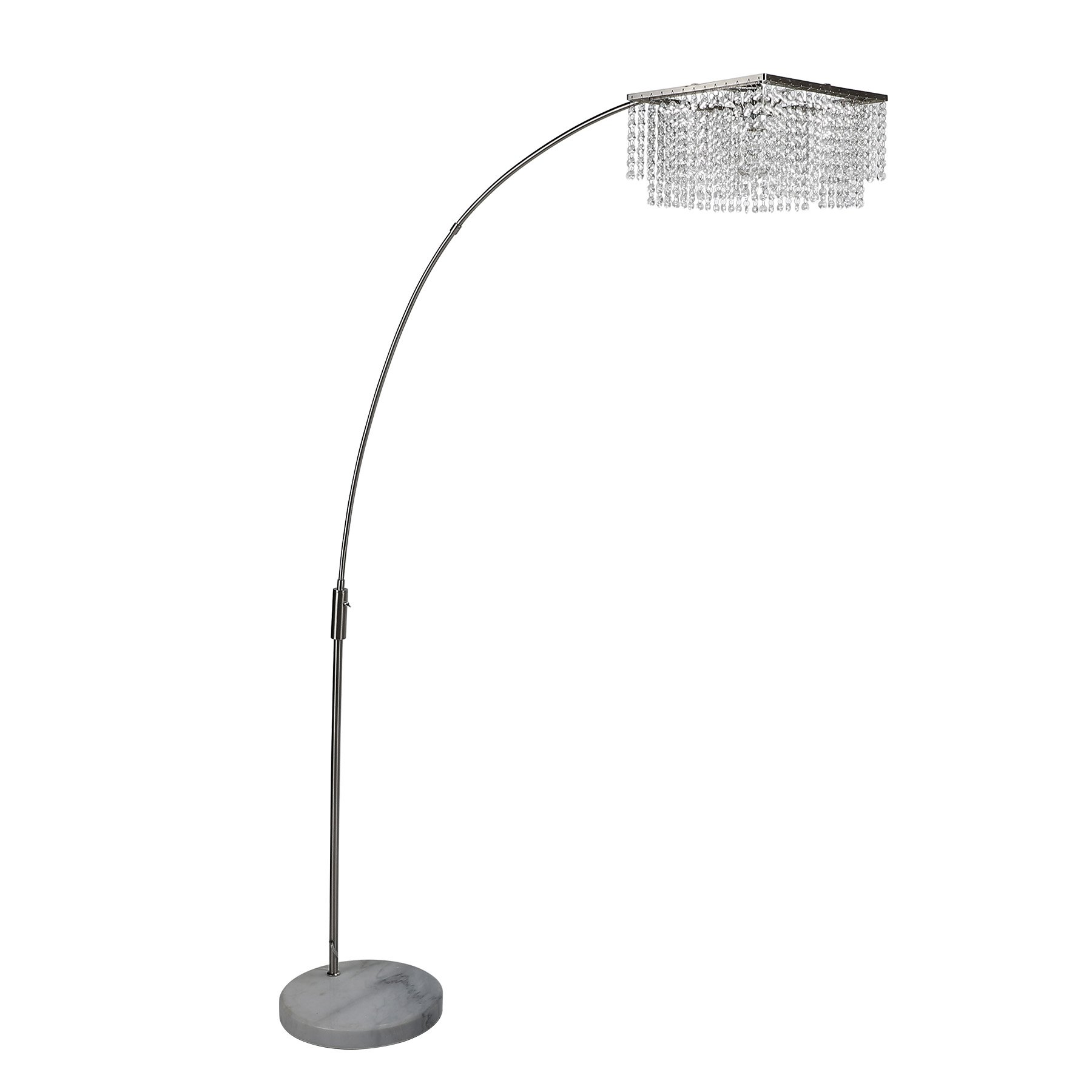 CO-Z Crystal Shade Modern Arch Floor Lamp, Adjustable Contemporary Floor Lamp with Natural Marble Base, Satin Nickle Arched Lighting Fixture for Living Room Bedroom