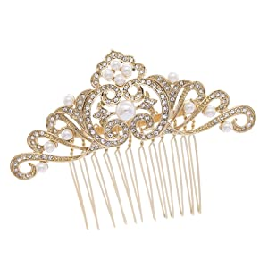 PROHAIR Hair Combs Trendy Plant Rhinestone Crystals Hair Accessories Flower Comb Bridal Headpiece
