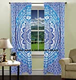 Bohemian Curtains Indian hippie curtains Bohemian psychedelic Ombre-mandala Wall-hanging-tapestry-blue Queen-size-large-82x82 Inches EXCLUSIVE SOLD BY Handicraftspalace