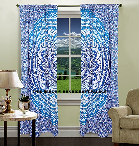 Indian hippie curtains Bohemian psychedelic Ombre-mandala Wall-hanging-tapestry-blue Queen-size-large-82×82 Inches EXCLUSIVE SOLD BY Handicraftspalace