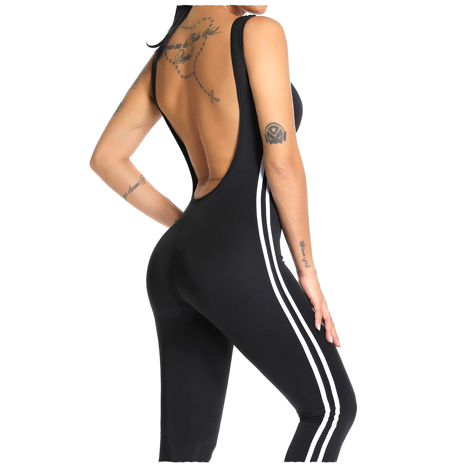 1 Black YOFIT Women Sexy Jumpsuits Athletic Clothes LowCut Back Yoga Rompers Sleeveless Bodysuit