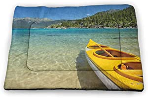 DayDayFun Lake Tahoe Pad Pet Clear Water in Shore of Lake Tahoe Idyllic Calming Scene Washable Puppy Pad Azure Blue Coconut Forest Green