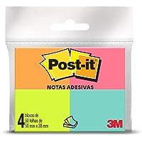 Bloco de Notas Adesivas, Post-it, 38x50mm, 4 Blocos de 50 Folhas, Multicor