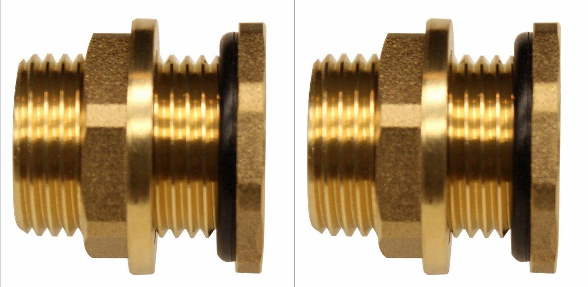 RAINPAL BBF020 Solid Brass Bulkhead Tank Fitting (1/2 inch Straight Female Pipe and 3/4'' Male Garden Hose Threaded) (2)