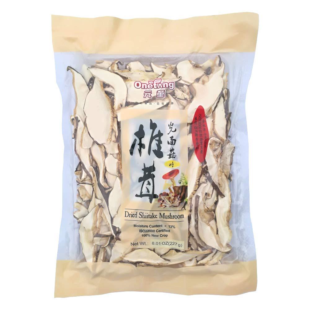 ONETANG Shiitake Mushroom Slices, Dried Shiitake Slices, No Fumigation Sulfur 8 Oz