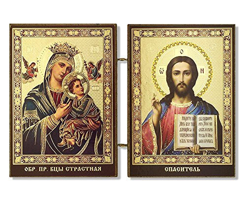 Christ The Teacher and Perpetual Help Madonna and Child Icon Diptych 3 1/2 Inch ()