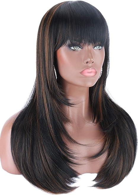 Straightened Long Layered Black Hair 20
