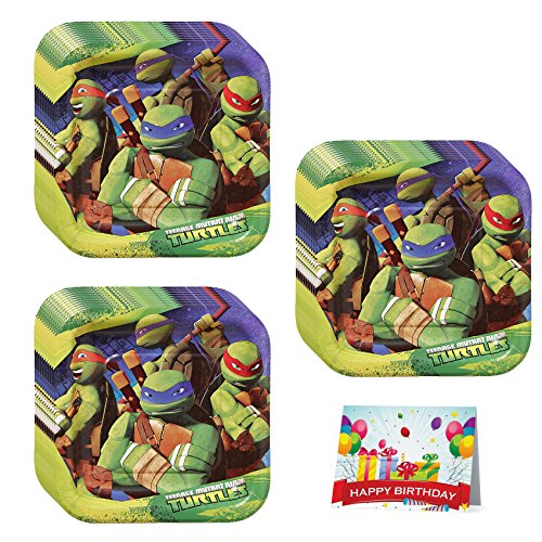Ninja Turtles Birthday Party Dessert Plates Bundle Pack of 24