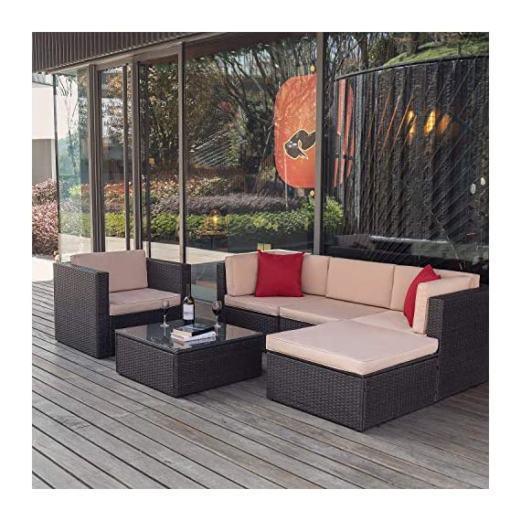Flamaker 6 Pieces Patio Furniture Set Outdoor Sectional Sofa Outdoor Furniture Set Patio Sofa Set Conversation Set with Cushion and Table (Beige) - 【Sturdy & Durable】The structure of this set is made of coated steel frame, which has very strong load-bearing capacity. And the coating on the surface reduces the erosion of the frame by rain. 【Tough PE Rattans】Constructed from commercial grade hand woven weather-resistant PE rattan wicker. The combination of this kind of high- quality material, make this kind of sofa can withstand the test of time and sunshine completely. 【Adjustable Screws】There are adjustable screws on the table and chair. If your floor is slightly uneven, you can try adjusting the screws.It can help you fine-tune the height. - patio-furniture, patio, conversation-sets - 61VUK29oOuL. SS570  -