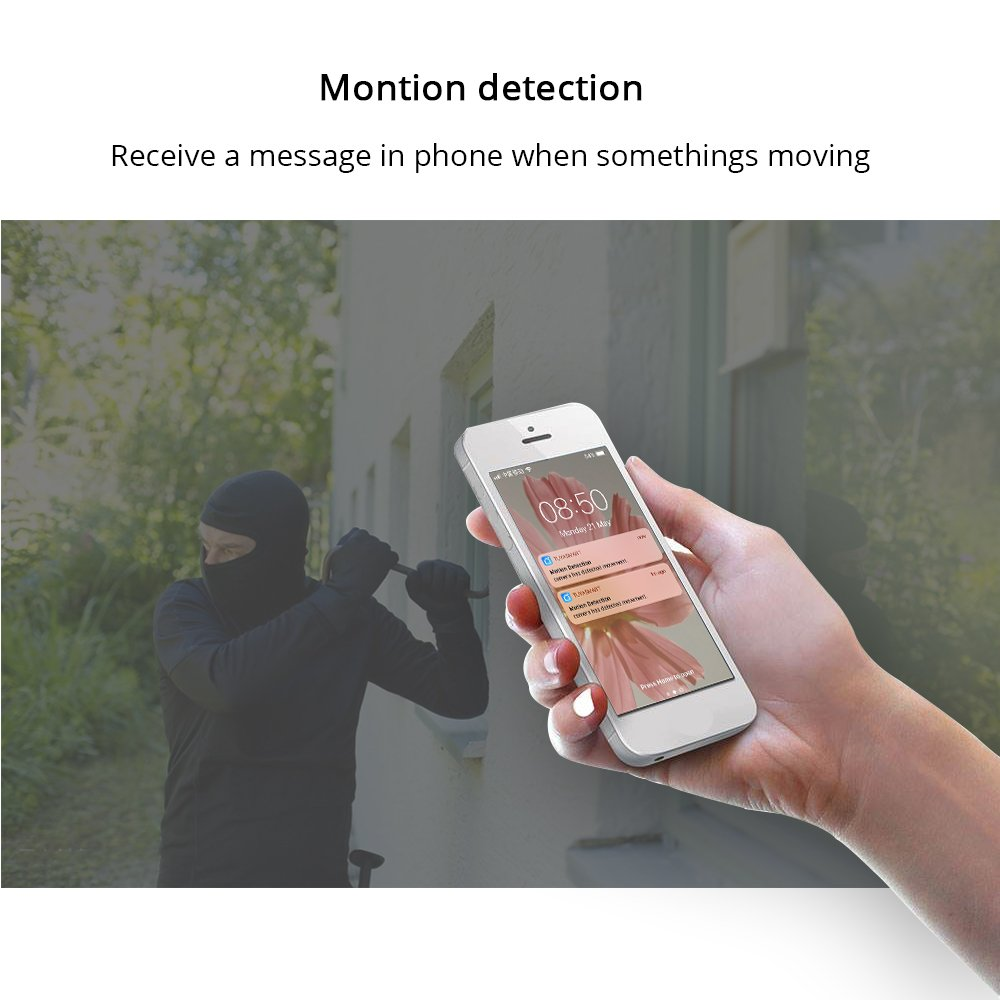 WiFi Camera Work with Alexa Echo Show APP Control 720P Support Two-Way Audio SD Card Night View Motion Monitor