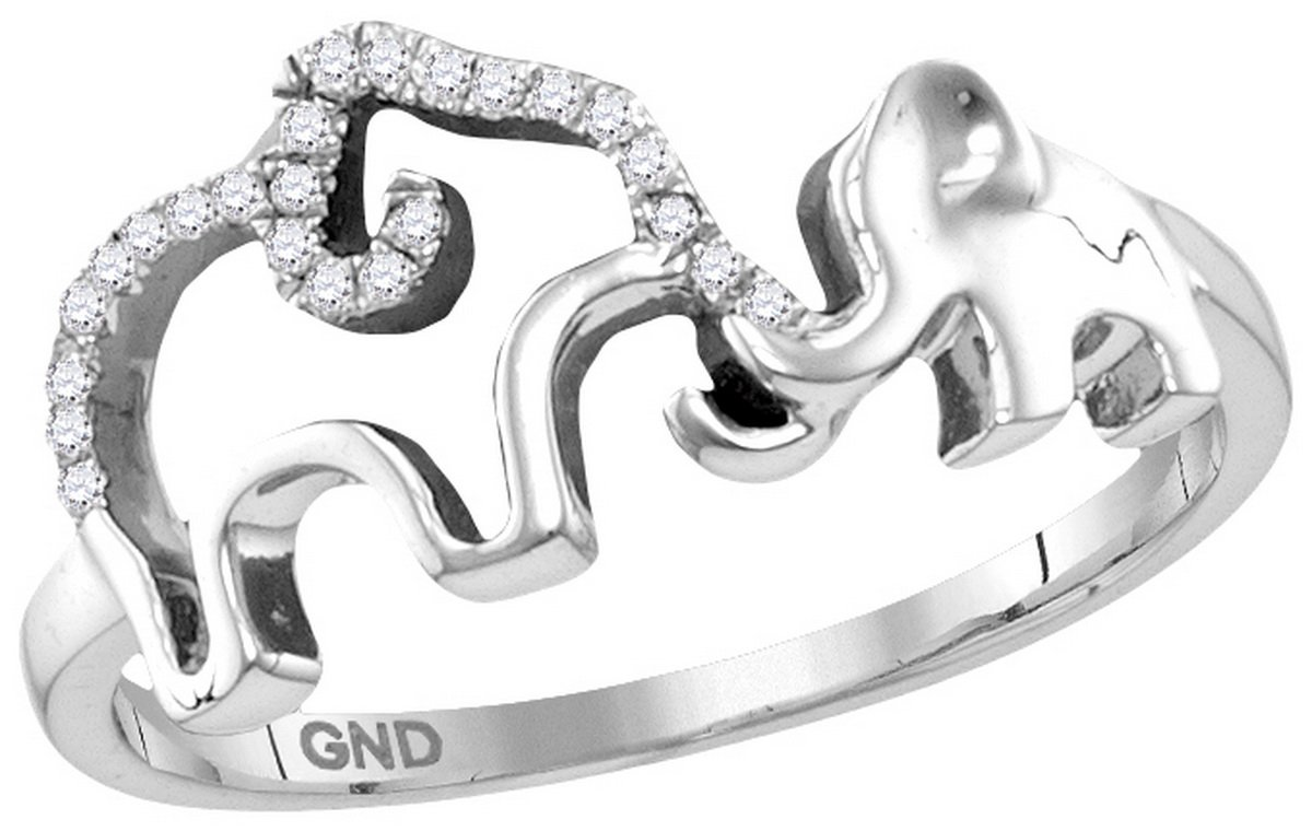 Sterling Silver Ring Womens Diamond Double Elephant Animal 1/20 Cttw