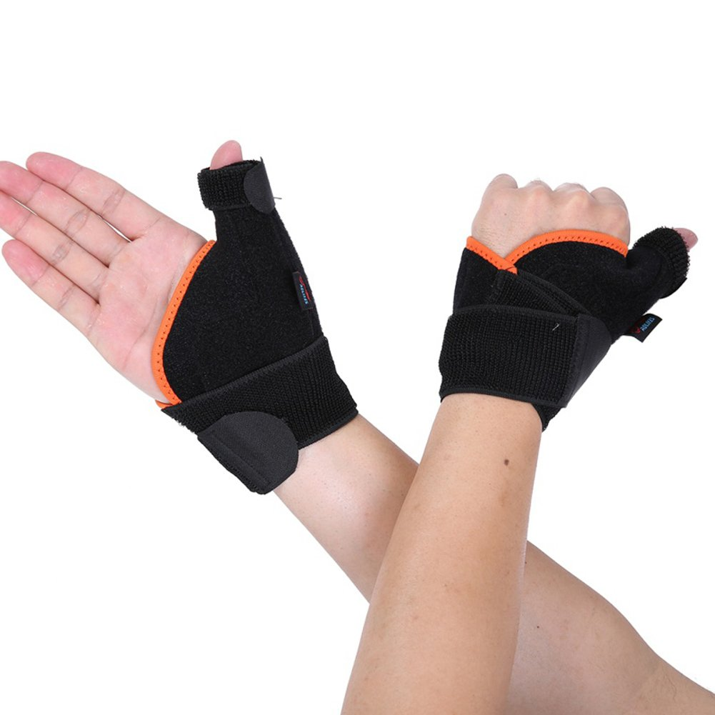 Alotm 1 Pair Wrist Brace with Thumb Stabilizer for Men or Women, Adjustable Sports Wrist Support Wraps for Carpal Tunnel Sprains/Weight Lifting, Left and Right Hand