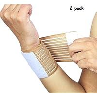 Kagogo Wrist Compression Wrap Support Bandage Brace Guard Injury Pain Sports Pad,Pack of 2