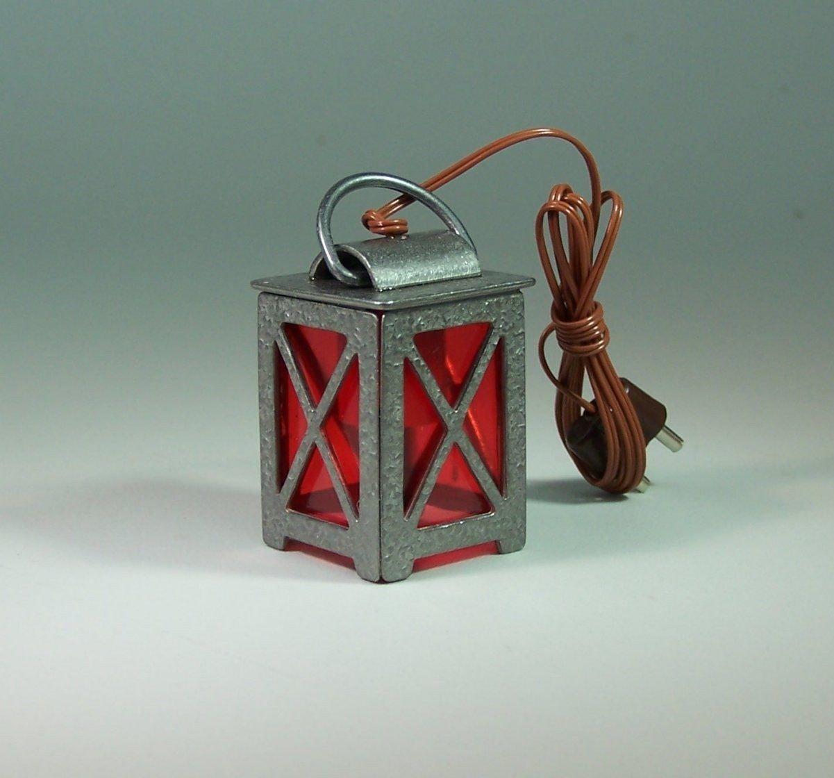 F/ür Krippenbeleuchtung. Zinnlaterne mit rote Scheiben 3,8 cm 3,5 V
