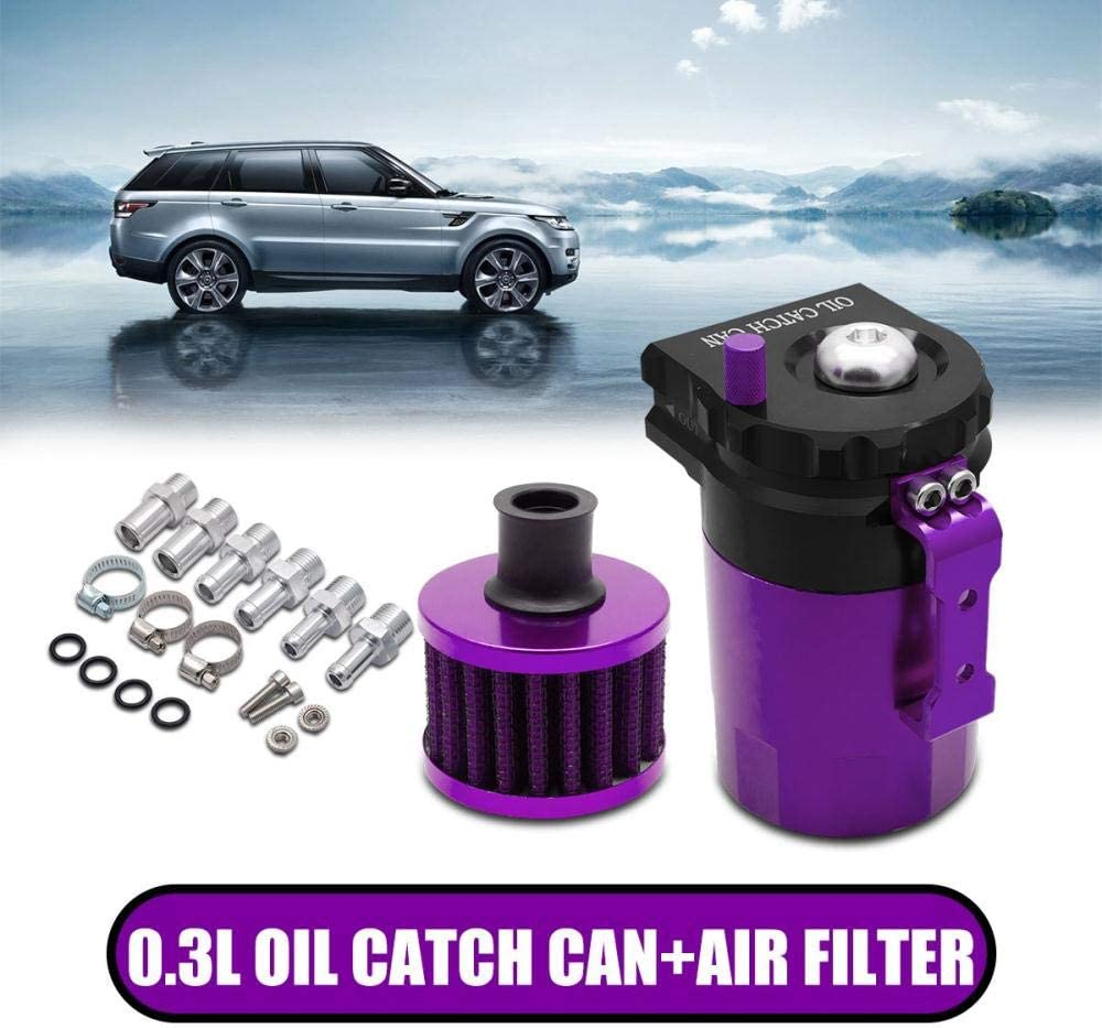 Purple Sunwan Car Oil Catch Can Reservoir Tank with Air Breather Filter Baffled Universal 0.3L -Purple
