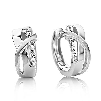 Miore Earrings Women Hoops Brilliant Cut Zirconia 925 Sterling Silver bi9pUmFzd