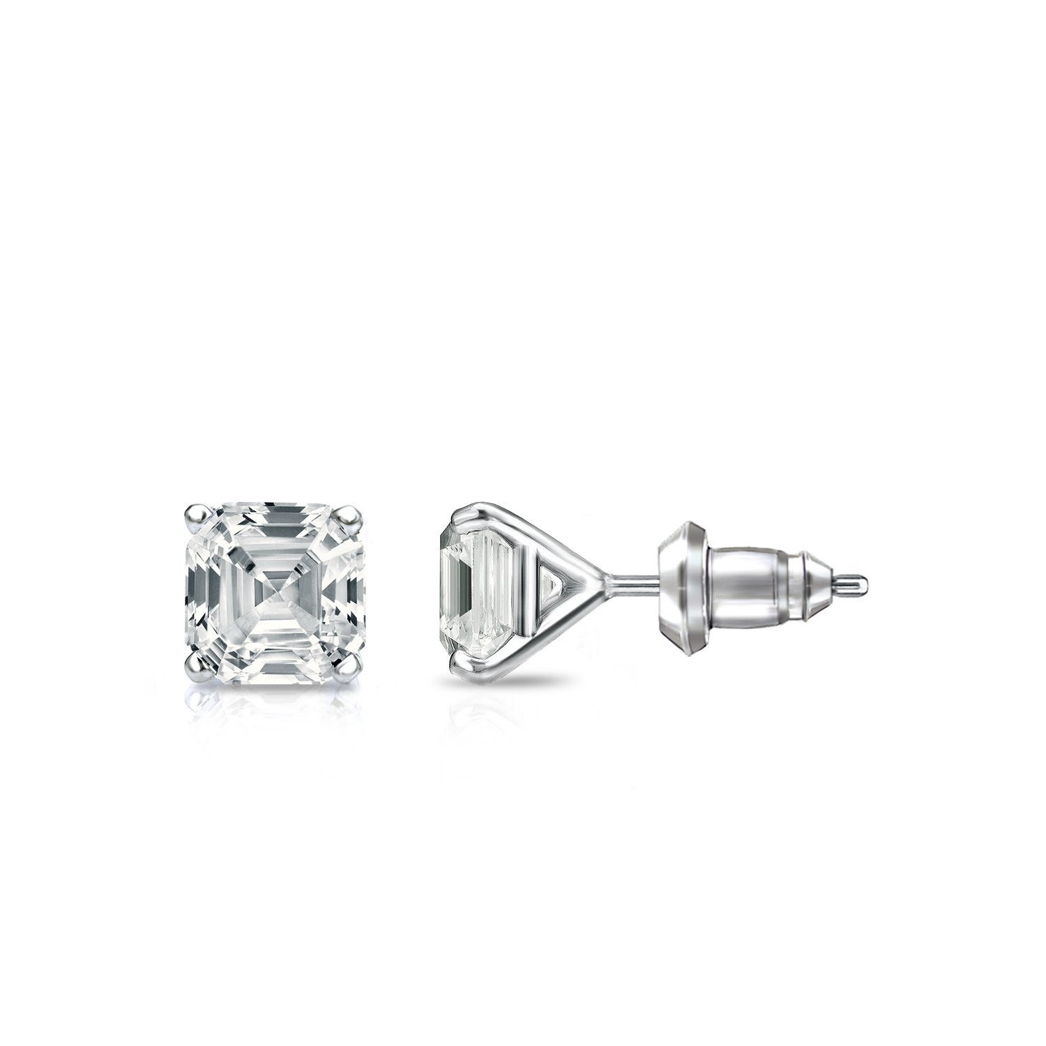 7ce9a989f Amazon.com: 14k Rose Gold 4-Prong Martini Asscher Diamond Men Stud Earrings  (1/2ct, White, SI1-SI2): Jewelry
