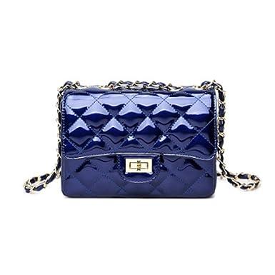 2018 Moda Charol Lingge Oro Cadena Acolchado Bolso De Hombro Mini Cuerpo Cruzado Mujeres Bolso Embrague Clásico Bolso De Noche,Blue-20*18*7cm: Amazon.es: ...