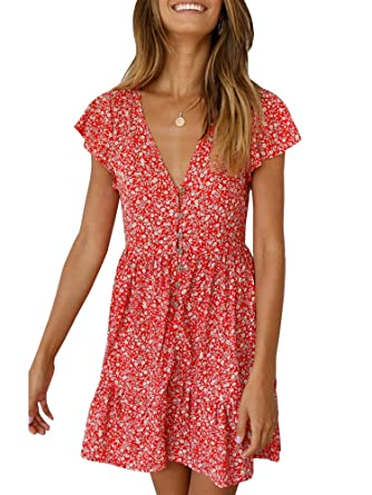 e0bc6d75e69c GAMISOTE Women's Sexy Deep V Neck Floral Print Ruffle Short Sleeve Summer Short  Mini Dress