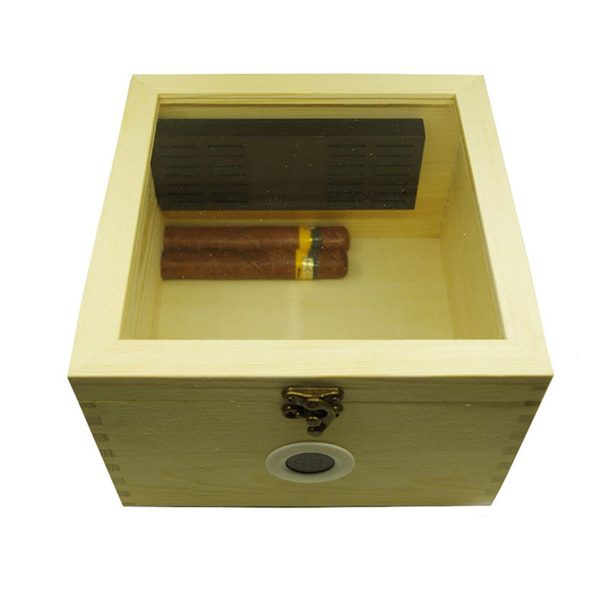 Tinzonc Beginners Cigar Moisturizing Box (7''x7''x4.7'') | Pine Cigar Box for 30 Cigars,Cigar Storage Stash Box Include Hygrometer and Humidifier