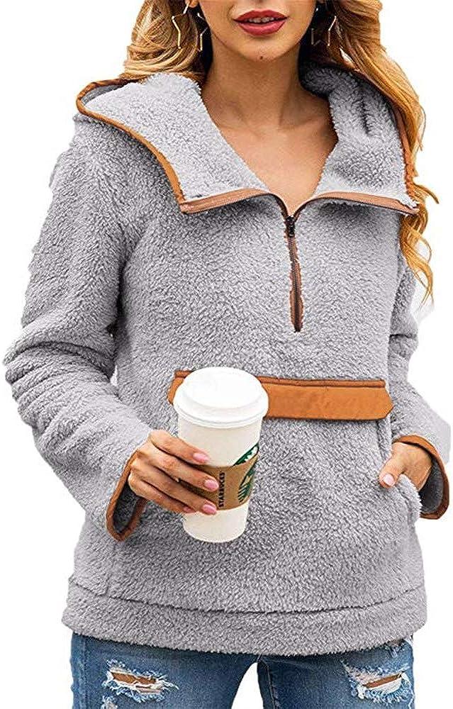 Caitefaso Womens Sherpa Pullover Fuzzy Fleece Sweatshirt Hoodie 1//2 Zipper Outwear Coat Pocket Jacket