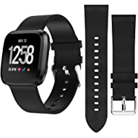 Band Replacement for Fitbit Versa Watch, Leather Fitbit Bands Casual Style