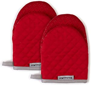 KitchenAid Asteroid Mini Cotton Oven Mitts with Silicone Grip, Set of 2, Red