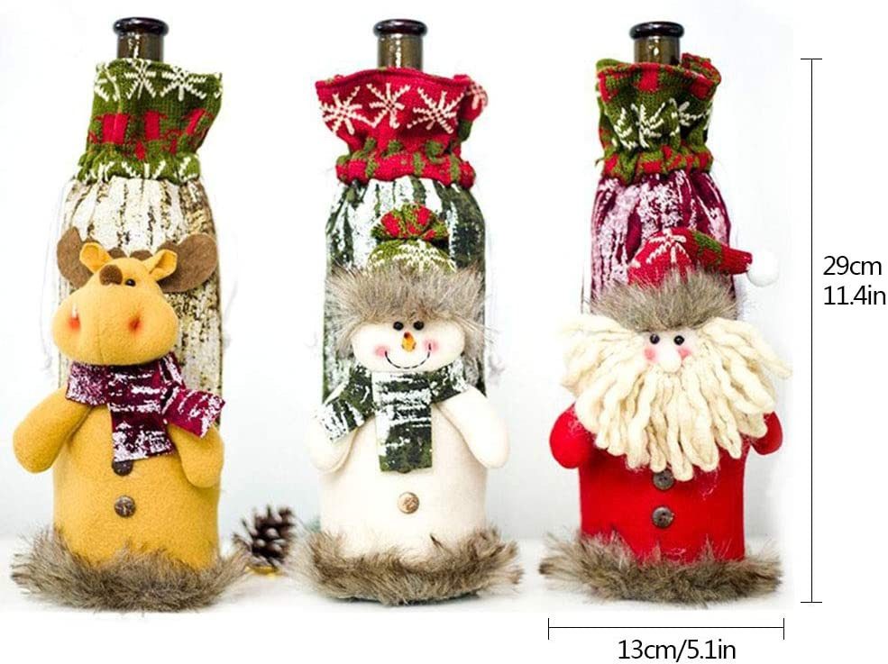 Christmas Wine Bottle Cover,3 Pieces Drawstring Style Handmade Sweater Ugly Wine Bottle Bags Hold Tableware for Christmas New Year Party Decoration