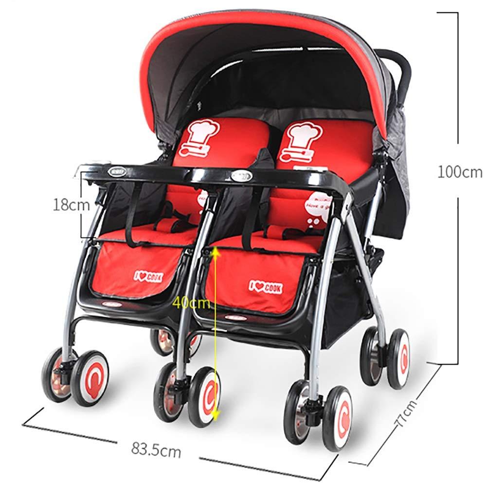 Guo@ Cochecito de bebé gemelo El carro plegable ligero puede ...