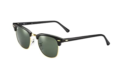 ray ban rb3016 classic clubmaster sunglasses  ray ban clubmaster classic rb3016 w0365 49 21 sunglasses black frame crystal green solid