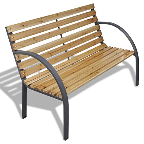 Anself Patio Garden Bench Park Yard Outdoor Furniture Iron Frame Chair Seat  With Wood Slats
