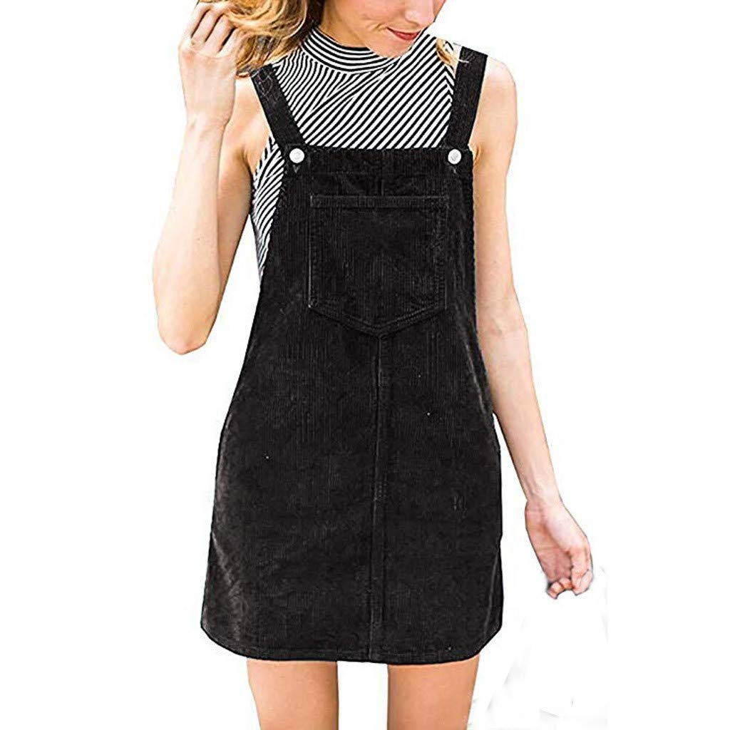 LisYOU Women Corduroy Strap Dress Straight Mini Bib Overall Pinafore Casual Pocket Dress (M, Black)