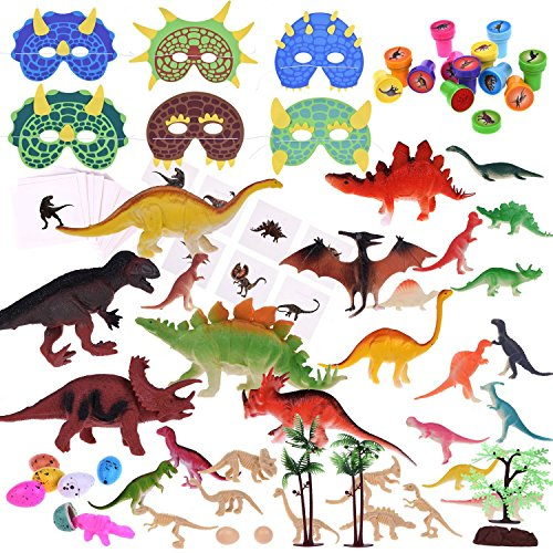88Pcs Kids Dinosaur Toy Kit Including Assorted Mini Figures, Stamps, Masks, Dinosaur Eggs, Sticker Tattoos and More for Dinosaur Party Supplies, Christmas Stocking Stuffers, Xmas Gifts