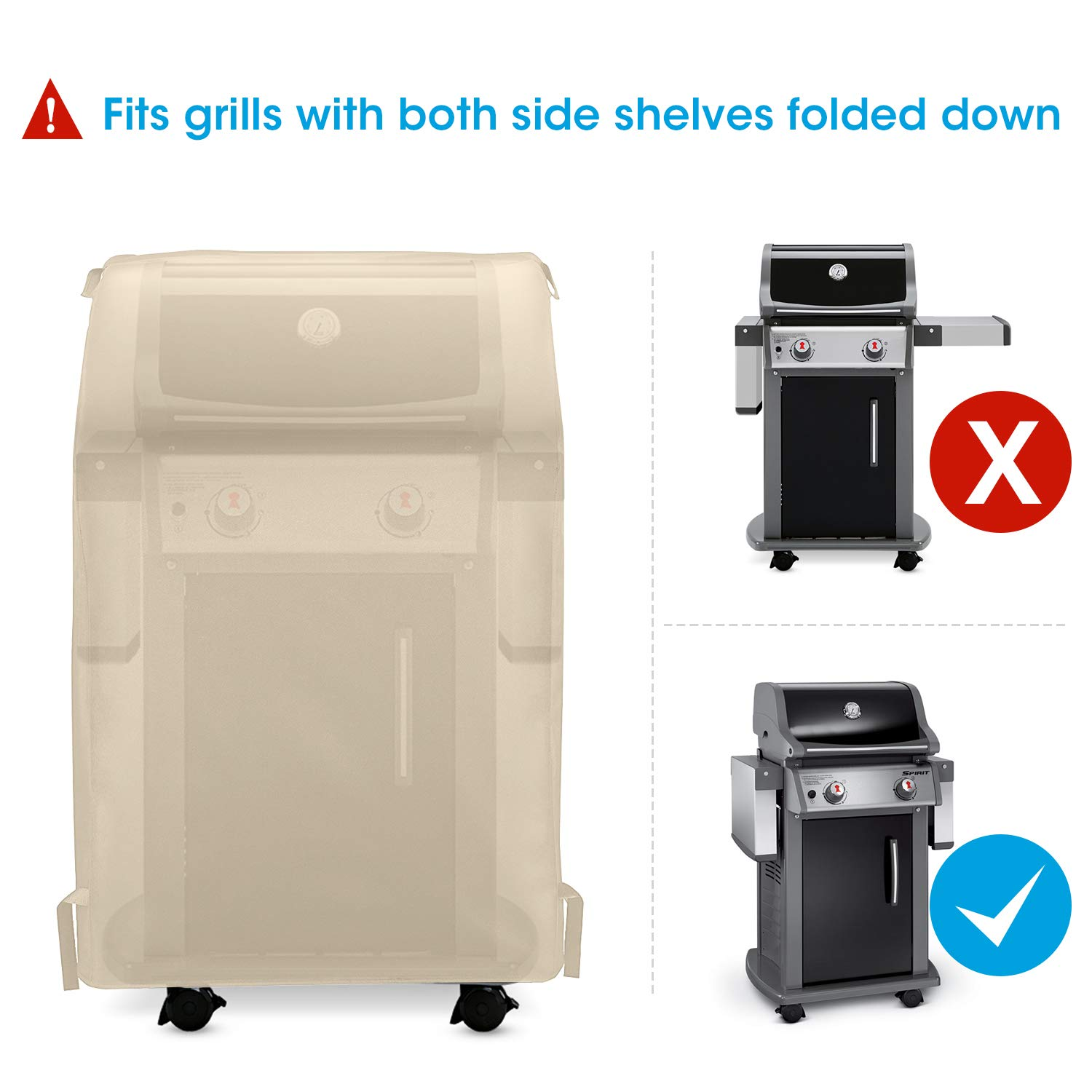 UNICOOK Outdoor 2 Burner Gas Grill Cover32 Inch Heavy Duty Waterproof Small Space Grill Cover Desert Sand Fits Grill with Collapsed Side Tables for Weber Char-Broil Dyna-Glo and More