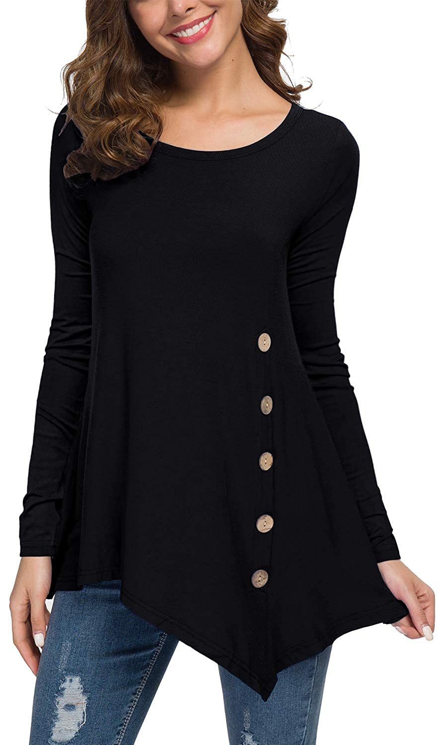 0b7ca16ce918 Viishow Women's Long Sleeve Scoop Neck Button Side Tunic Tops Blouse at  Amazon Women's Clothing store: