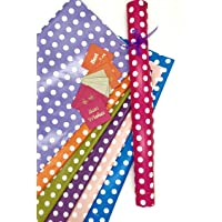 Satyam kraft (Pack of 10) 28 * 19 inches Gift Wrapping Paper with Free 10 Gift Tags, Envelope Making,Card Making, Scrapbooking and Multipurpose Creative Uses (Polka Dot Mix Color)