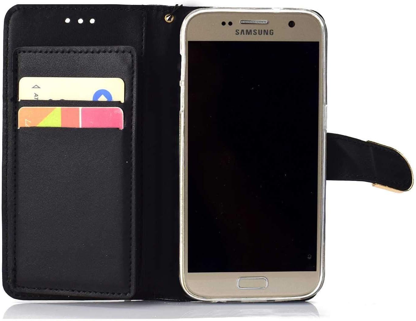 Pr/émium Portefeuille Coque pour Apple Galaxy S7 The Grafu/® Brillante Glitter /Étui en Cuir /à Rabat avec emplacements pour Cartes Noir Coque Galaxy S7