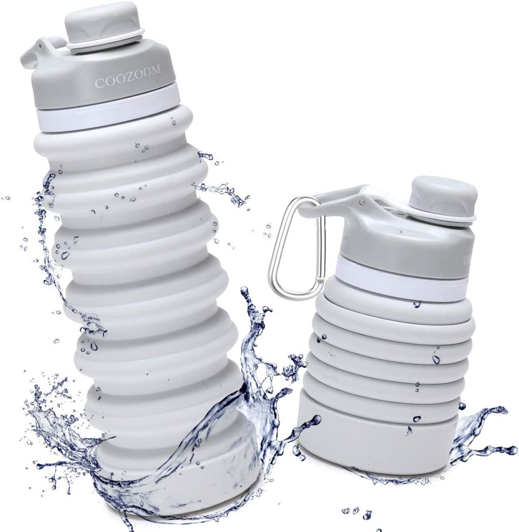 COOZOOM Collapsible Water Bottle 750ml/25oz Food-Grade BPA Free Silicone Leak Proof Portable Reusable Retractable Expanding Folding Travel Water Bottle for Hike Camp Outdoor Sprots Grey