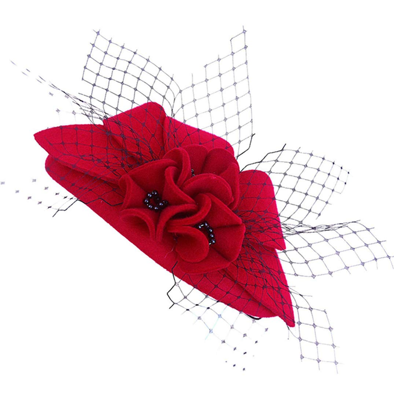 Fascinator Hat for Women Classic Pearl Wool Women Pillbox Hat Tilt Wedding Party Cocktail Hats