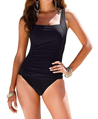 15f5faa97d947 Upopby Vintage Women's Tummy Control Monokini One Piece Swimsuit Retro Bathing  Suit Black ...